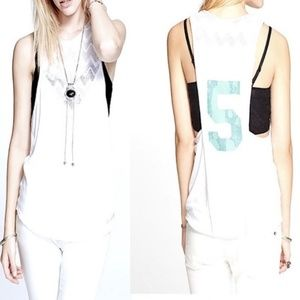 NWT Free People Jersey Graphic Ivory Tank Top Sz M